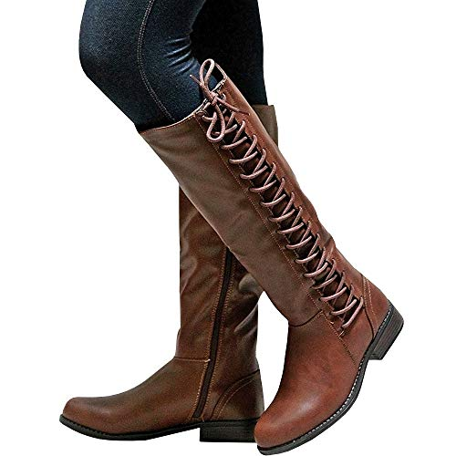 Dellytop Womens Wide Calf Riding Boots Lace-up Low Block Heel Side Zipper Western Shoes