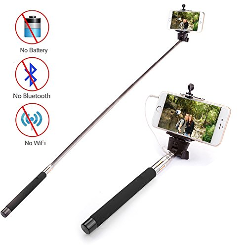 Lemonbest® New 3.5mm Stereo Jack Control Remote Selfie Stick Extendable Handheld Self Portrait Monopod Pole Holder For iPhone Android Smartphones, Plug and Play, Battery Free, Apps Free (Black)
