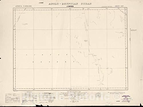 Historic 1909 Map | Sudan 1:250,000 | J. Hadada Sheet 34-P Nov 1934 | Anglo-Egyptian Sudan 44in x 33in