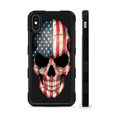 407Case Compatible with iPhone X American Flag Skull Hyper Shock Protective Rubber TPU Phone Case (iPhone X)