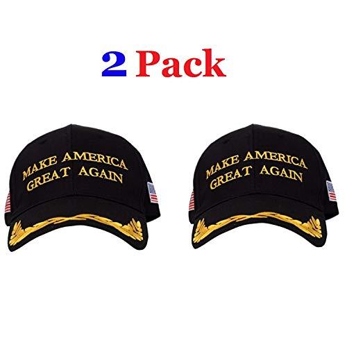 Make America Great Again Hat [2 Pack], Donald Trump USA MAGA Cap Adjustable Baseball Hat (Olive Branch - Black)