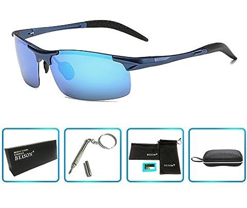 Beison Sports Goggles Driving Glasses Polarized Sunglasses Unbreakable Metal Frame (Blue, Blue - Eyeglasses Light Blue Frame