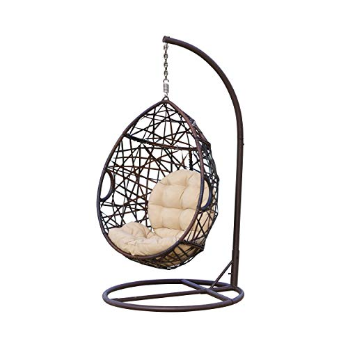 Christopher Knight Home 239197 | Outdoor Wicker Tear Drop Hanging Chair | in Brown (Rattan Cushions Swivel Replacement Chair)