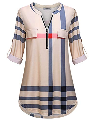 Fall Clothes for Women Work Casual, Ladies Tunic Tops Henley V Neck Curved Hem Roll Sleeve Shirt Relaxed Fit Checked Plaid Printed Youth Female Daily Wear Dressy Blouse for Leggings Beige M
