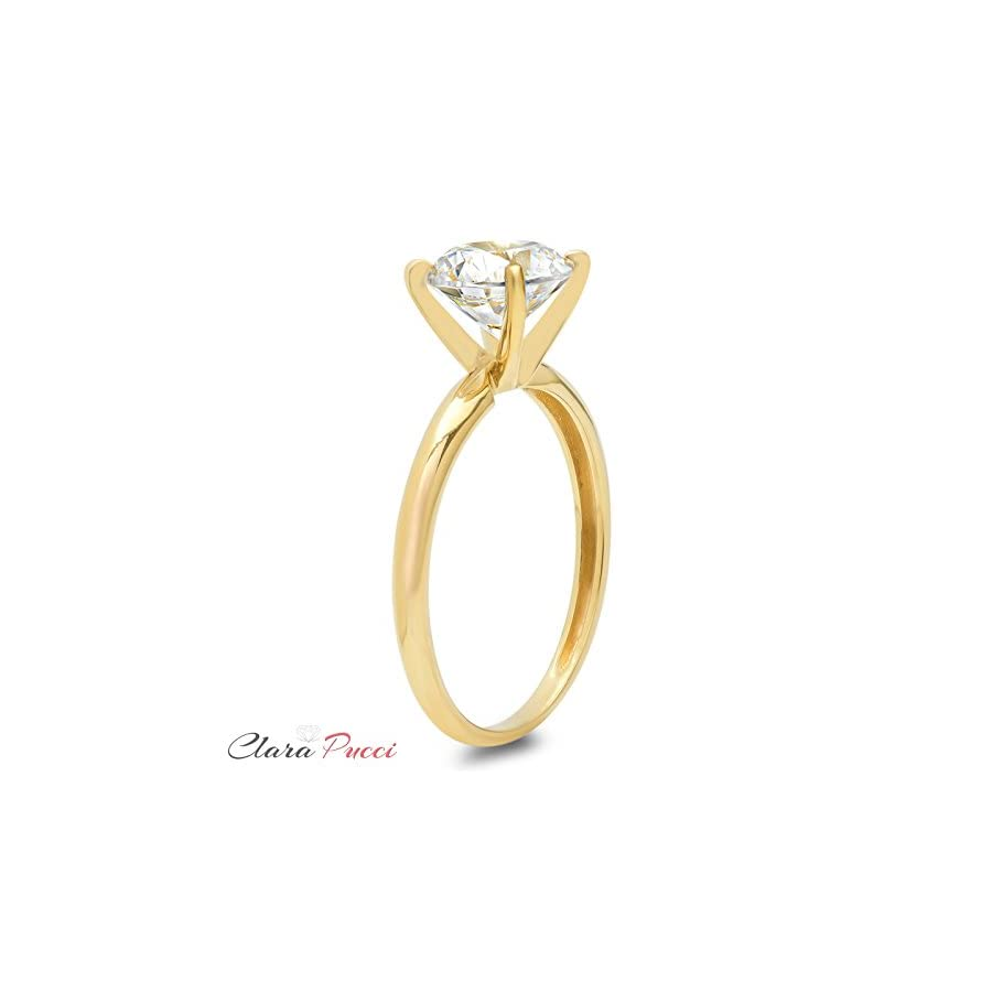 Clara Pucci Round Cut 4 prong Solitaire anniversary Promise Bridal Engagement Wedding Ring 14k Yellow Gold, 1.85CT