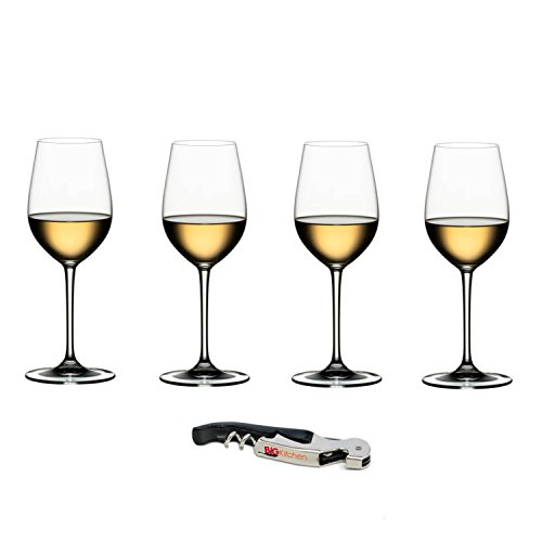 (Riedel Vinum XL Leaded Crystal Riesling Grand Cru Wine Glass Set, Buy 3 Get 4 with Bonus BigKitchen Waiter's Corkscrew)