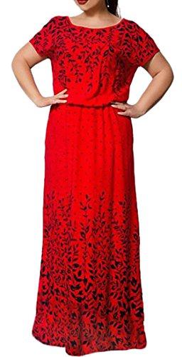 Dress Maxi Sleeve Print Chiffon Womens Red Short Floral Long Jaycargogo HSxqw8CZnx