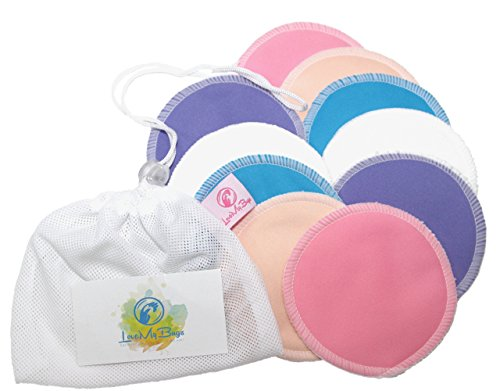 Washable and Reusable Nursing Pads; 10 Pack Mesh Laundry Bag; Baby Soft Organic Bamboo; Superb Absorption; Leak-proof; by LoveMyBugs; Perfect Baby Shower Gift