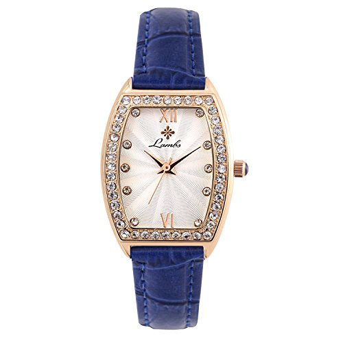 Ladies Fashion Watch, Womens Rose Gold Rectangular Diamond CaseWaterproof Quartz Elegant Casual Wrist Watches for Girls with Comfortable Genuine Leather Band (Blue) - Full Diamond Watch Band