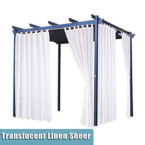 RYB HOME Outdoor Sheer White - Outdoor Decoration Thick Linen Look Curtain Drape Waterproof Nature Privacy/UV Protect for Gazebo/Sunroom / Balcony, Bonus Rope Included, W 54