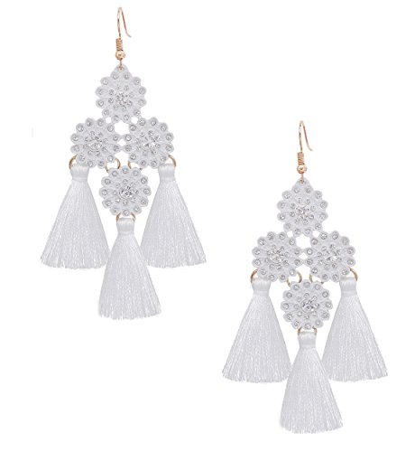Statement White Tassel Dangle Earrings for Women VUJANTIRY Bohemian Chandelier Fringe Earring Crystal Flower Drop Earrings (Enamel Chandelier Earrings)