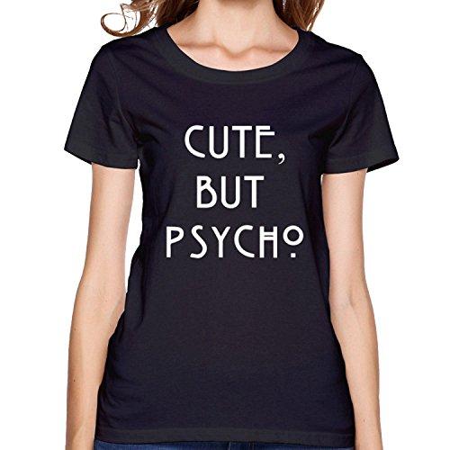 Price comparison product image Women's Cute But Psycho white shirts XXL Black Short Sleeve