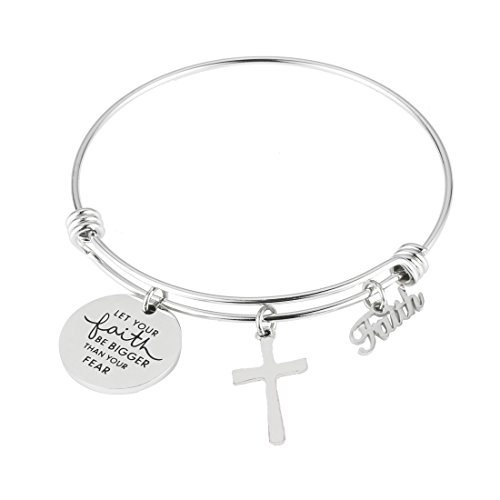 REEBOOO Christian Bracelet,Faith Bracelet, Let Your Faith be Bigger Than Your Fear Gift for Her (Let Your Faith be Bigge Than Your Fear)