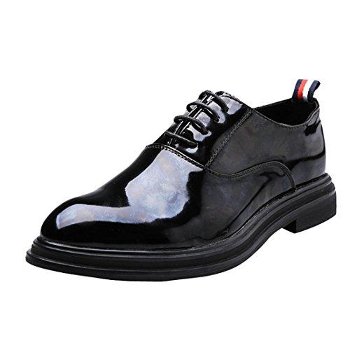 qianchuangyuan Chaussures de Ville pour Hommes Neuves Cuir PU à Lacets Bout D'Affaires Oxfords Chaussures Noir pORuICv9f2