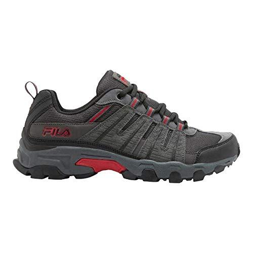 Fila Mens Westmount Hiking Outdoor Athletic Sneaker, Grey/Black/Red, 9