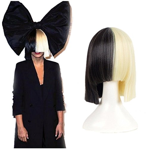 HairPhocas Half Blonde and Black 2 Tone Hair Short Straight Cosplay Wig for Women]()