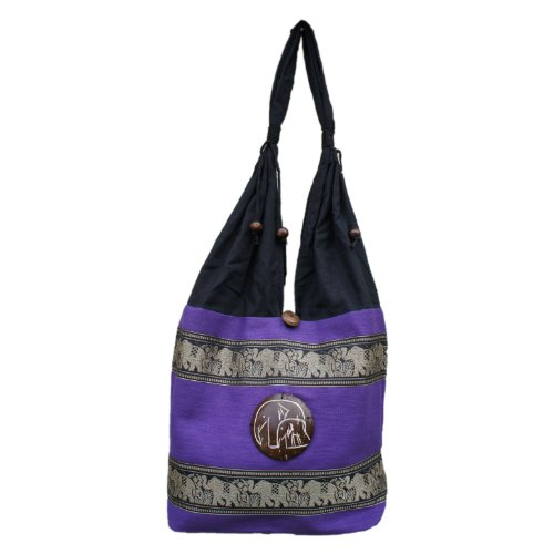 Thai Embroidered Hippie Bag Marching Elephant 100% Cotton Boho Purse Tribal Travel Bag Purple
