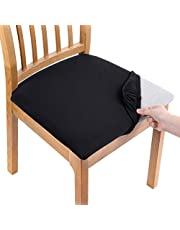Smiry Printed Dining Chair Seat Covers - Stretchy Removable Washable Upholstered Chair Seat Slipcover Protector (Set of 2, Black)