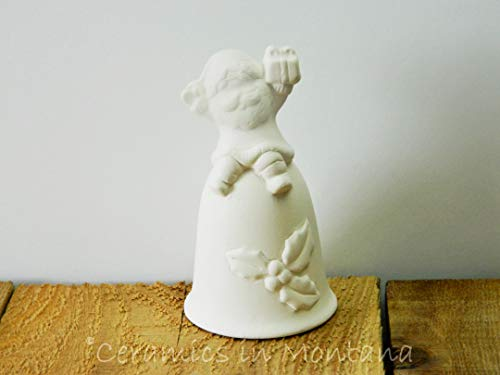 Santa Bell with Holly Unpainted Ceramic Bisque