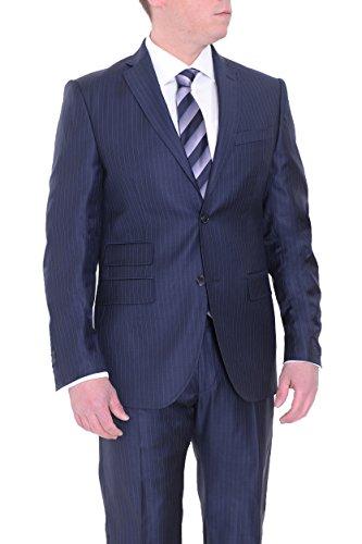 (Jude Silver Slim Fit Blue Striped Loro Piana Fabric Super 130's Wool Suit)