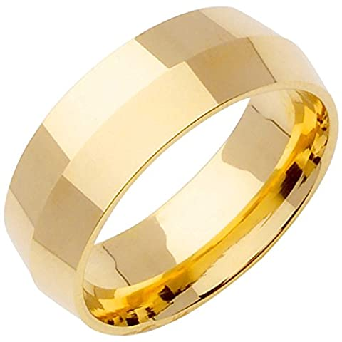 14K Gold Traditional Knife Edge Men's Comfort Fit Wedding Band (8mm) Size-12.5c1 (Man Ring Gold 14k)