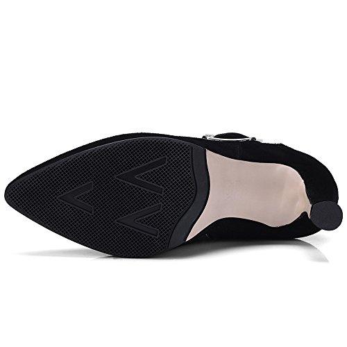 Donne Nero Caviglia Comfort Di Fatta Poinnted Sette Toe Tacco Di Nove Delle Elegante Spillo Stivaletti Camoscio Mano Cuoio Alti A A R7Fwnaq