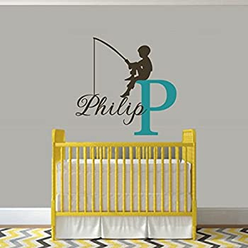 Amazon.com: Personalized Wall Decals For Boys Name Fishing Hook ...