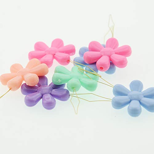 NX Garden Needle Threaders 10PCS Assorted Colors Plastic Flower Head Wire Loop Needle Threaders for Hand Stitching and Sewing Machine Needle