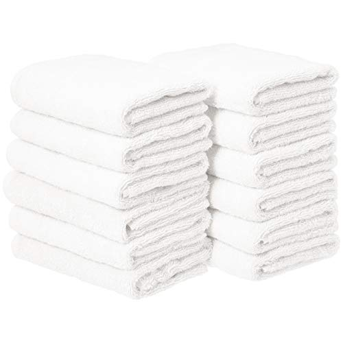AmazonBasics Cotton Hand Towels - Pack of 12, White
