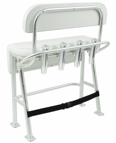 Taco Metals Neptune III Deluxe Leaning Post with Backrest Grab Rail and 4 Aluminum Rod Holders (Backrest Upholstered)