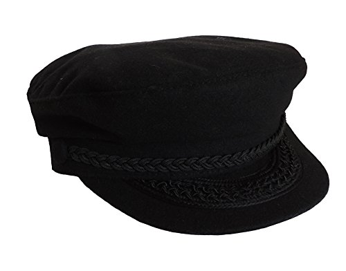 - Black Wool Greek Fisherman Cap With Braid Trim & Embroidery Accents
