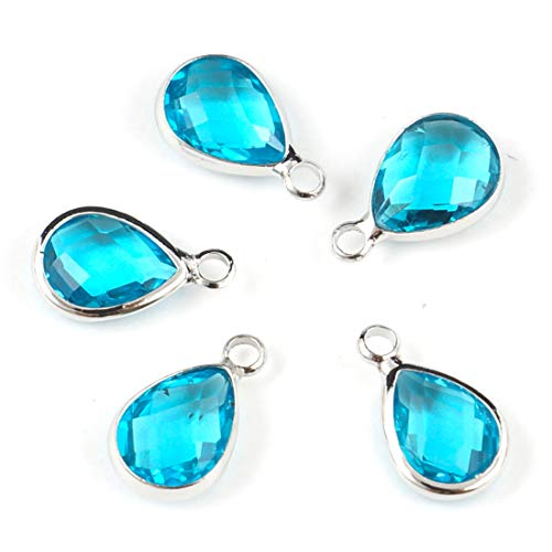 10pcs March Aquamarine Blue Birthstone Charms 14x8mm Teardrop Crystal Beads Silver Plated Brass for Jewelry Craft Making CCP15-3
