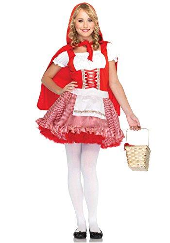 Leg Avenue Junior's 2 Piece Red Hiding Hood Costume, Red/White, Small/Medium (Adult Cartoon Characters)