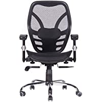 Magtec Mid-Back Office Chair with Breathable Nylon Mesh, Padded Height Adjustable Arms, Synchronic Mechanism, Black