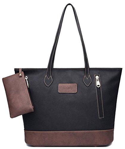 ilishop Womens PU Leather Tote Handbag Contrast Color Shoulder Bag