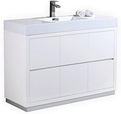Kubebath Bliss 48″ High Gloss White Free Standing Single Sink Modern Bathroom Vanity