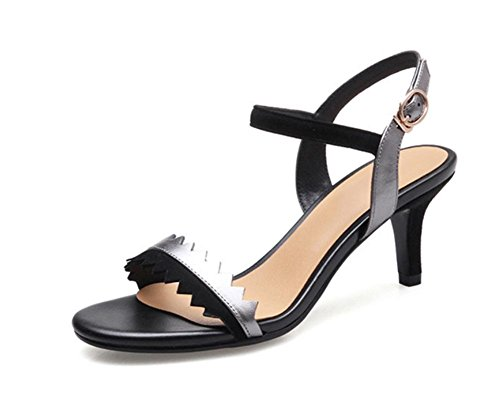 Frau offene Sandalen fein mit hohen Absätzen Sandalen weibliche Schuhe mit hohen Absätzen Wort Riemchen-Sandalen Sommer Sandalen und Pantoffeln Black