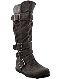 Women's Knee High Mid Calf Boots Ruched Suede Knitted Calf Buckles Rubber Sole GY-WB-233