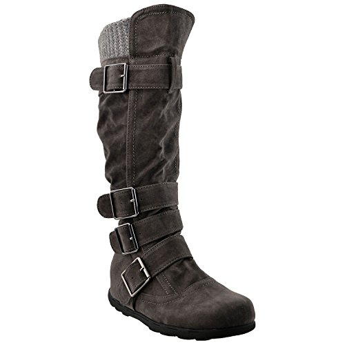 womens-knee-high-boots-ruched-suede-knitted-calf-buckles-rubber-sole-charcoal-sz-85