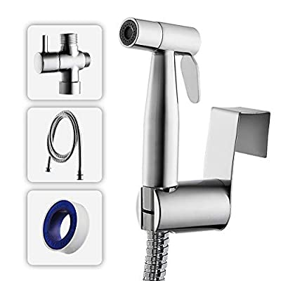 Dr Faucet Handheld Bidet Sprayer for Toilet Hand Held Bidet Shower Set Bathroom Shower Sprayer Kit-Complete Shattaf Combo with T-adapter and and Bidet Hose
