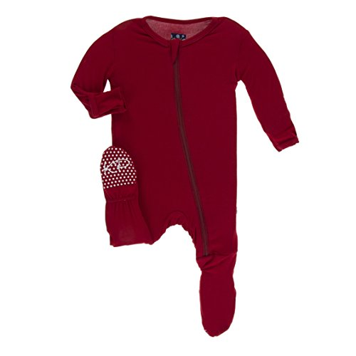 Kickee Pants Little Boys Solid Footie with Zipper - Candy Apple, 5 Years