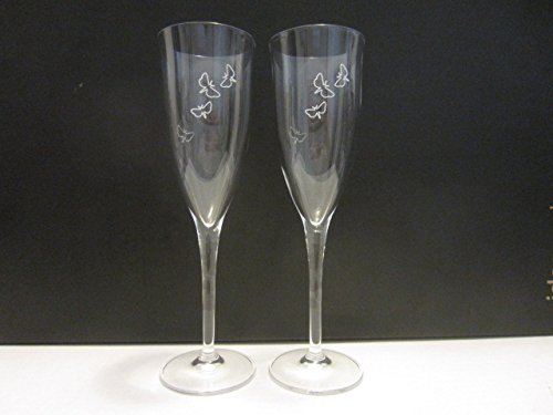 (Set of 2 Perrier Jouet Blason Rose Pink Champagne Epernay France Butterfly Bubbles Engraved Crystal Flutes Glasses)