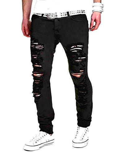 Minetom Verano Hombres Delgado Deportes Pantalones Denim Straight Vaqueros Rectos Lagrimeo Agujeros En El Estilo Negro