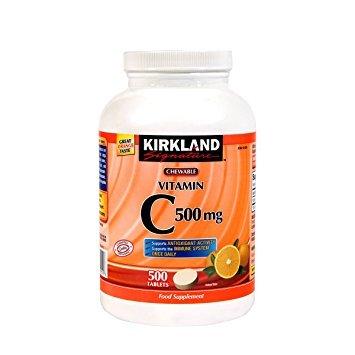 Kirkland Vitamin C (500 mg), 500-Count, Tangy Orange, Chewable Tablets (2 Bottles)
