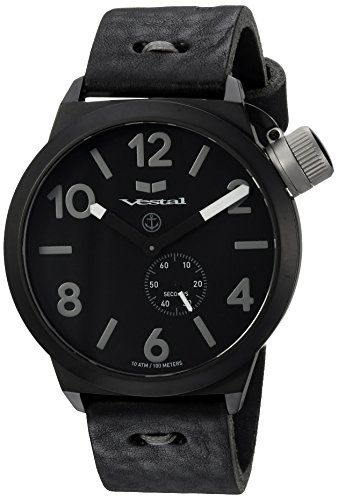 Vestal 'Canteen Makers' Quartz Stainless Steel and Leather Dress Watch, Color Black (Model: CNTMAK003)