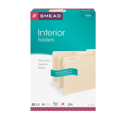 Smead Interior File Folder, 1/3-Cut Tab, Legal Size, Manila, 100 per Box (Position Legal 100 Box)