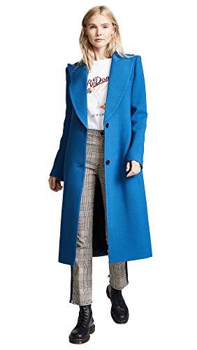 - SMYTHE Women's Peaked Lapel Coat, Zephyr, Blue, 4