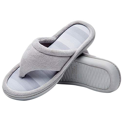 - Cozy Niche Women's Microfiber Gradational Color Knit Thong Slippers, Textured Memory Foam Spa Flip-Flops (5-6 B(M) US, Gray)
