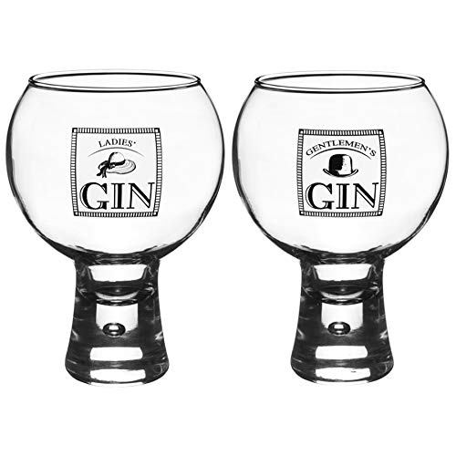 (Durobor Alternato Short Stem Bubble Base Gentlemen's/Ladies' Gin Glasses - 540ml - Set of 2)
