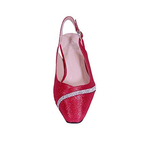 Fleur Candice Femme Large Largeur Bout Pointu Décoratif Bande De Cristal Sur Vamp Slingback (taille / Mesure) Rouge